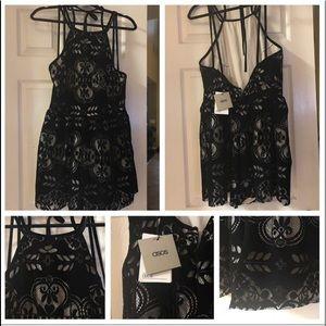 ASOS Black Velvet Romper- Size: US 14